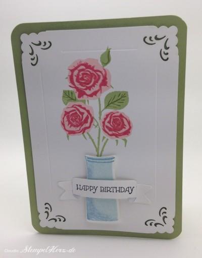 Stempelherz - Geburtstagskarte mit Rosen 01