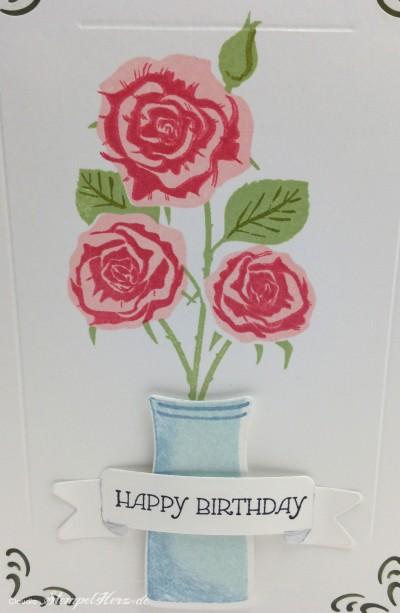 Stempelherz - Geburtstagskarte mit Rosen 02