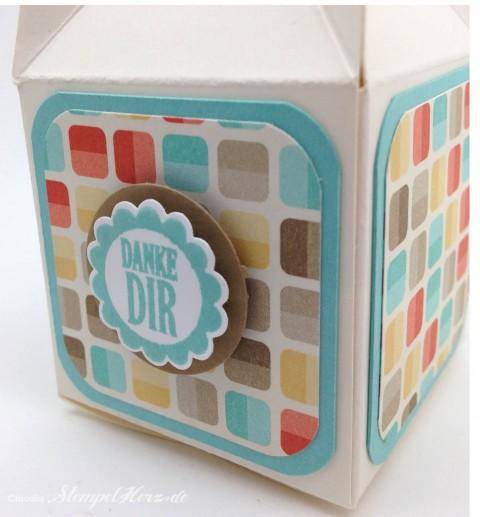 Stampin Up - Stempelherz - Box - Verpackung - Stanze Gewellter Anhaenger - Eine runde Sache - Box Danke Dir 04#