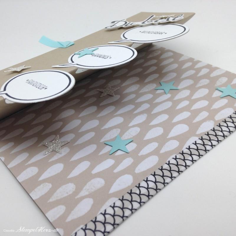 Stampin Up - Stempelherz - Drehkarte - Ganz schoen aufgeblasen - Fantastische Vier - Drehkarte Du  bist wunderbar 05