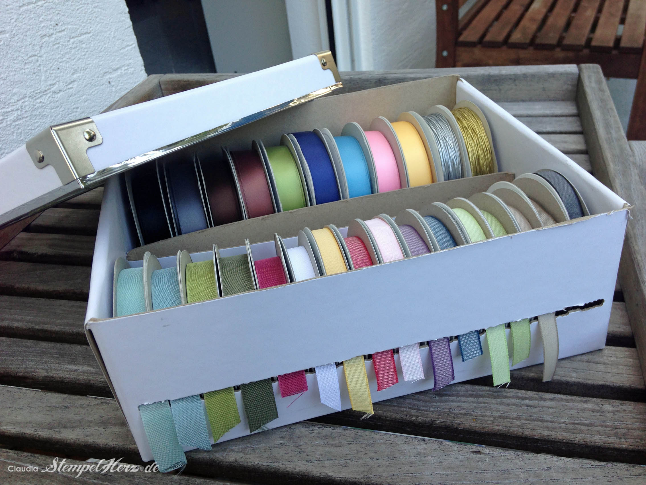 stampin up stempelherz ikea box baenderbox tip aufbewahrung baender ribbonbox 03. Black Bedroom Furniture Sets. Home Design Ideas