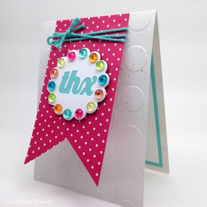 Stampin Up - Stempelherz - Karte - Dankeskarte - Thinlits Pop-up-Karte Kreis - Framelits Banner - Karte Ein buntes Danke 01