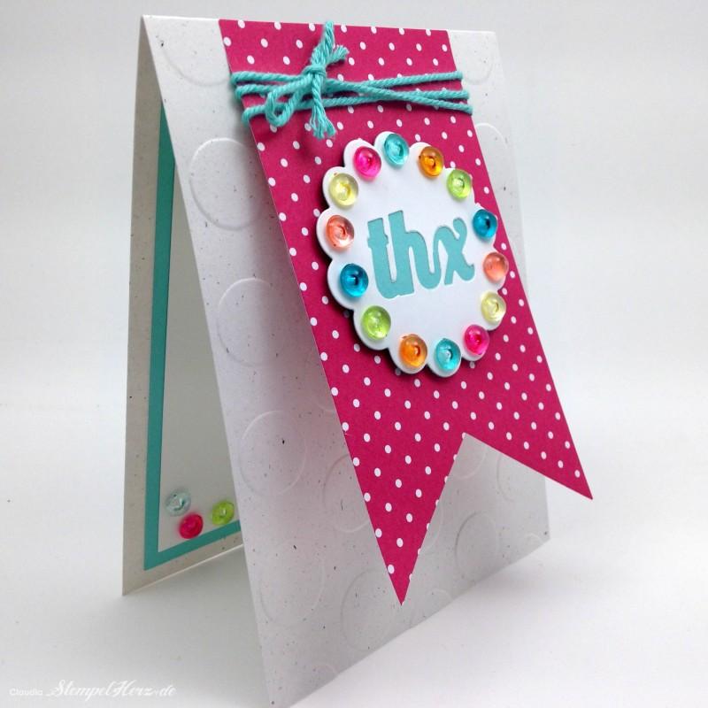 Stampin Up - Stempelherz - Karte - Dankeskarte - Thinlits Pop-up-Karte Kreis - Framelits Banner - Karte Ein buntes Danke 02