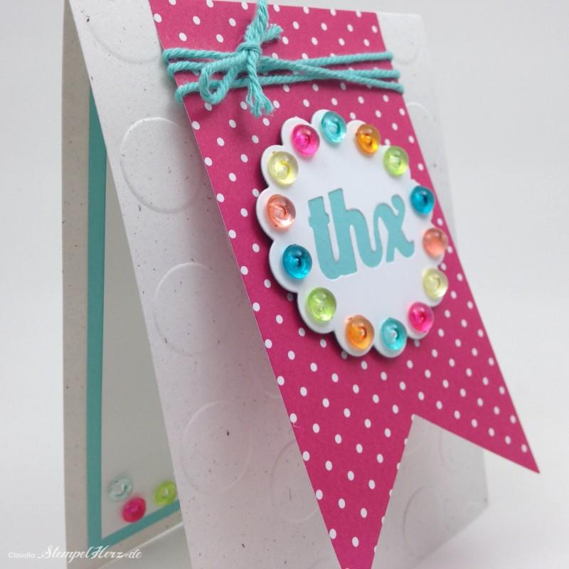 Stampin Up - Stempelherz - Karte - Dankeskarte - Thinlits Pop-up-Karte Kreis - Framelits Banner - Karte Ein buntes Danke 03