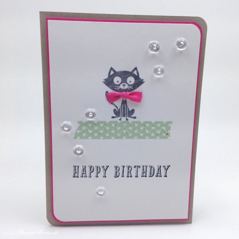 Stampin Up - Stempelherz - Geburtstagskarte - Poesie auf vier Pfoten - Peace, Love & Cupcakes - Karte Happy Birthday Kitty 02