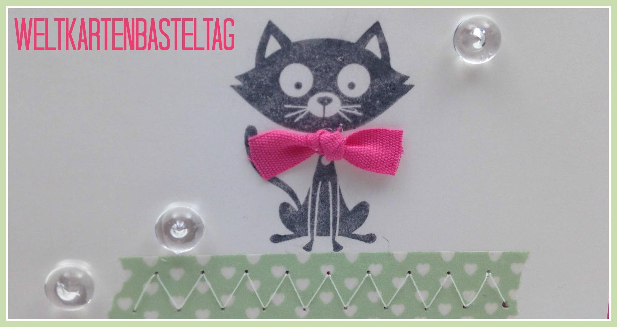 Team-Blog Hop zum Weltkartenbasteltag – Geburtstagskarte mit Katze