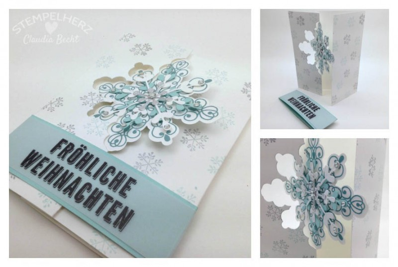 Stampin Up - Stempelherz - Schneeflocken-Drehkarte Collage