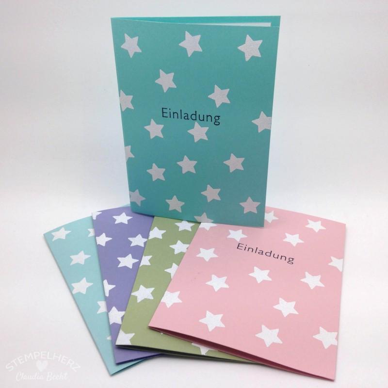 Stampin Up - Stempelherz - Einladungskarten zu Leas 9. Geburtstag 01
