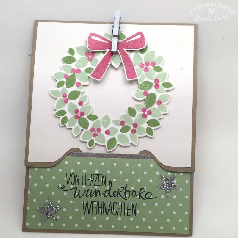 Stampin Up - Stempelherz - Gutscheinkarte - Karte - weihnachtiche Karte - Envelope Punchboard - Stempelset Willkommen Weihnacht - Stanze Wellenkante - Framelits Willkommen Weihnacht 02