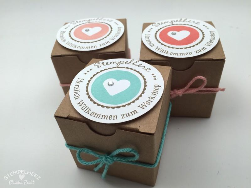 Stampin Up - Stempelherz - Workshop - Gastgeschenk - Box - Verpackung - Box Willkommen zum Workshop Stempelherz