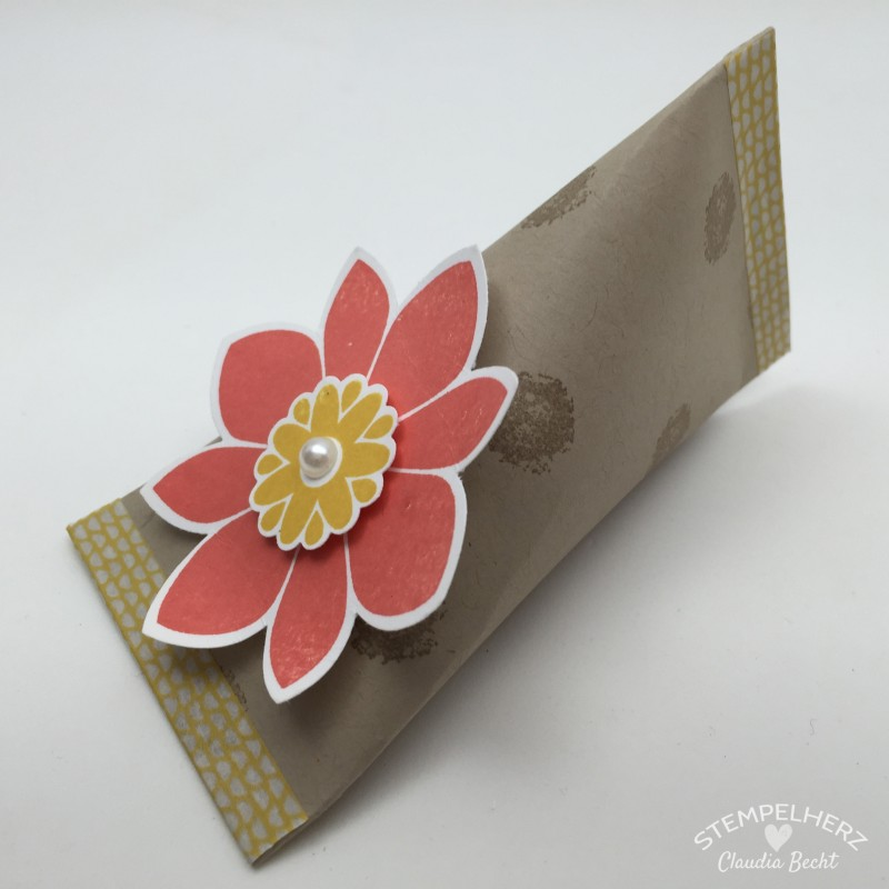 Stampin Up - Stempelherz - Sour Creme Box - Verpackung - Petal Potpurri - Motivklebeband - Sour Creme Box mit Blume 09