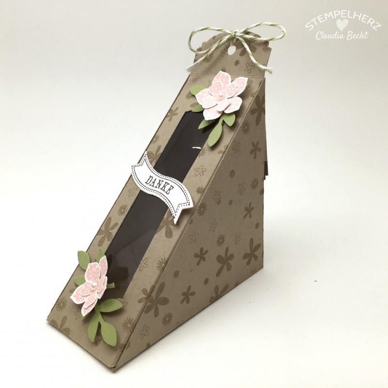 Stampin Up-Stempelherz-Sandwichbox-Verpackung-Box-Famose Faehnchen-Pictogram Punches-Petite Petals-Sandwichbox Danke 01