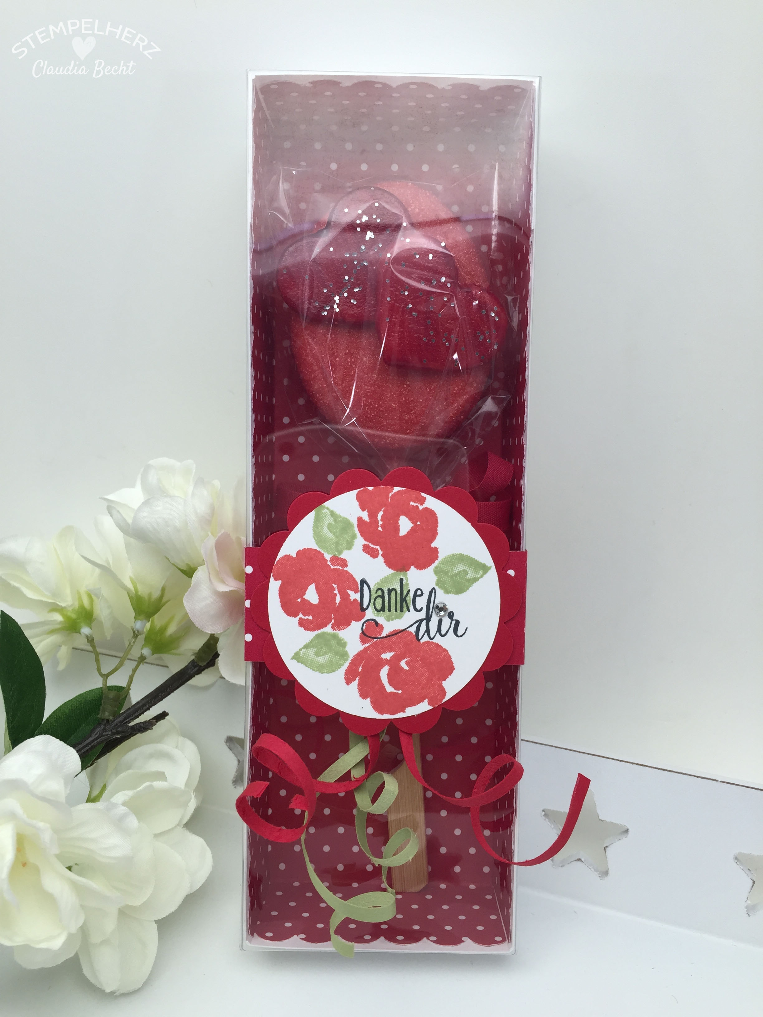 Stampin Up-Stempelherz-Verpackung-Box-Verpackung Cake Pop-Muttertag-Painted Petals-Cake Pop Verpackung Danke Dir zum Muttertag 01