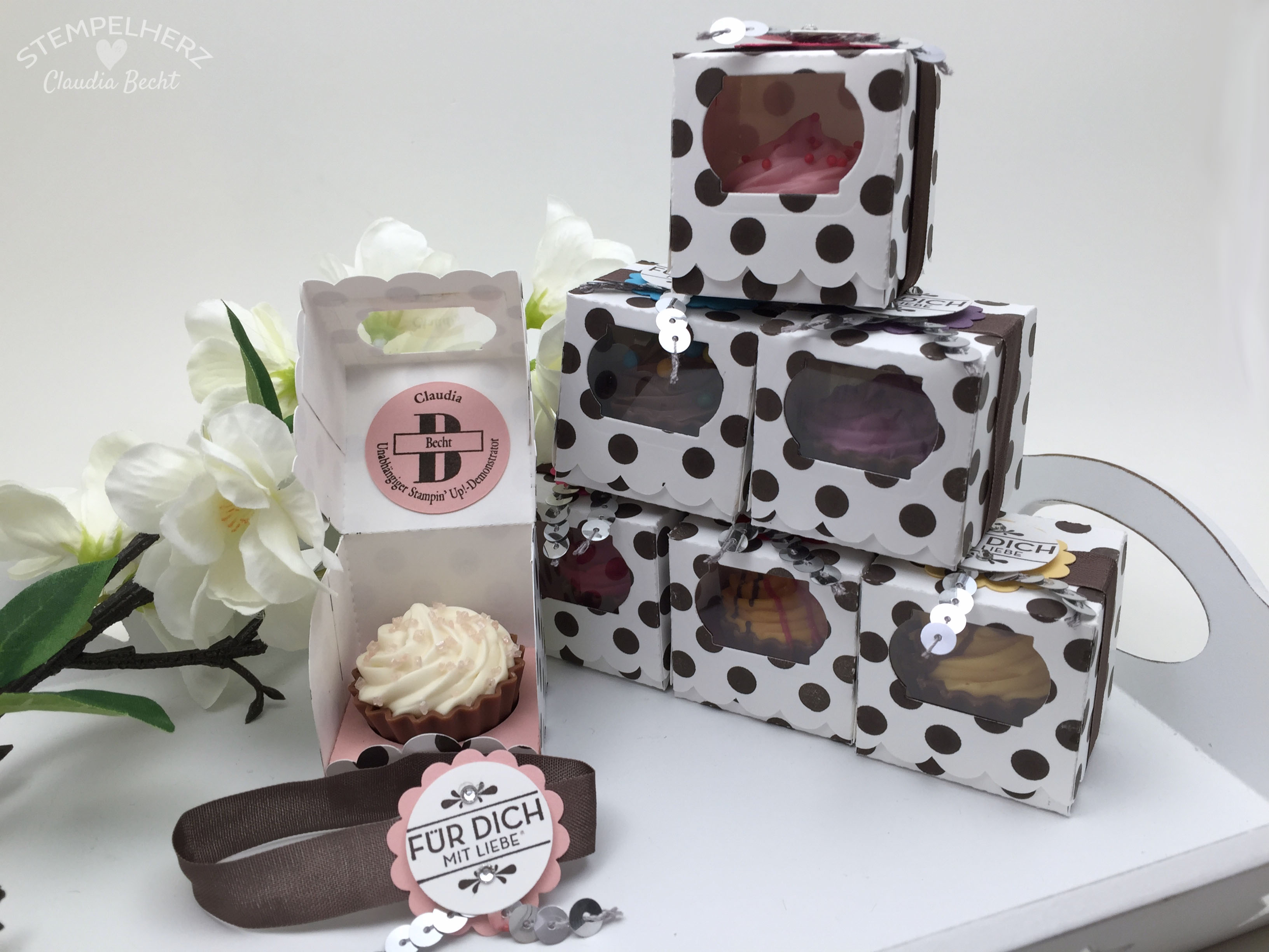 Stampin Up-Stempelherz-Verpackung-Box-Cupcakeverpackung-Cupcake-Hausgemachte Leckerbissen-Pralinenschachtel-Cupcakepralinen-Verpackung 01