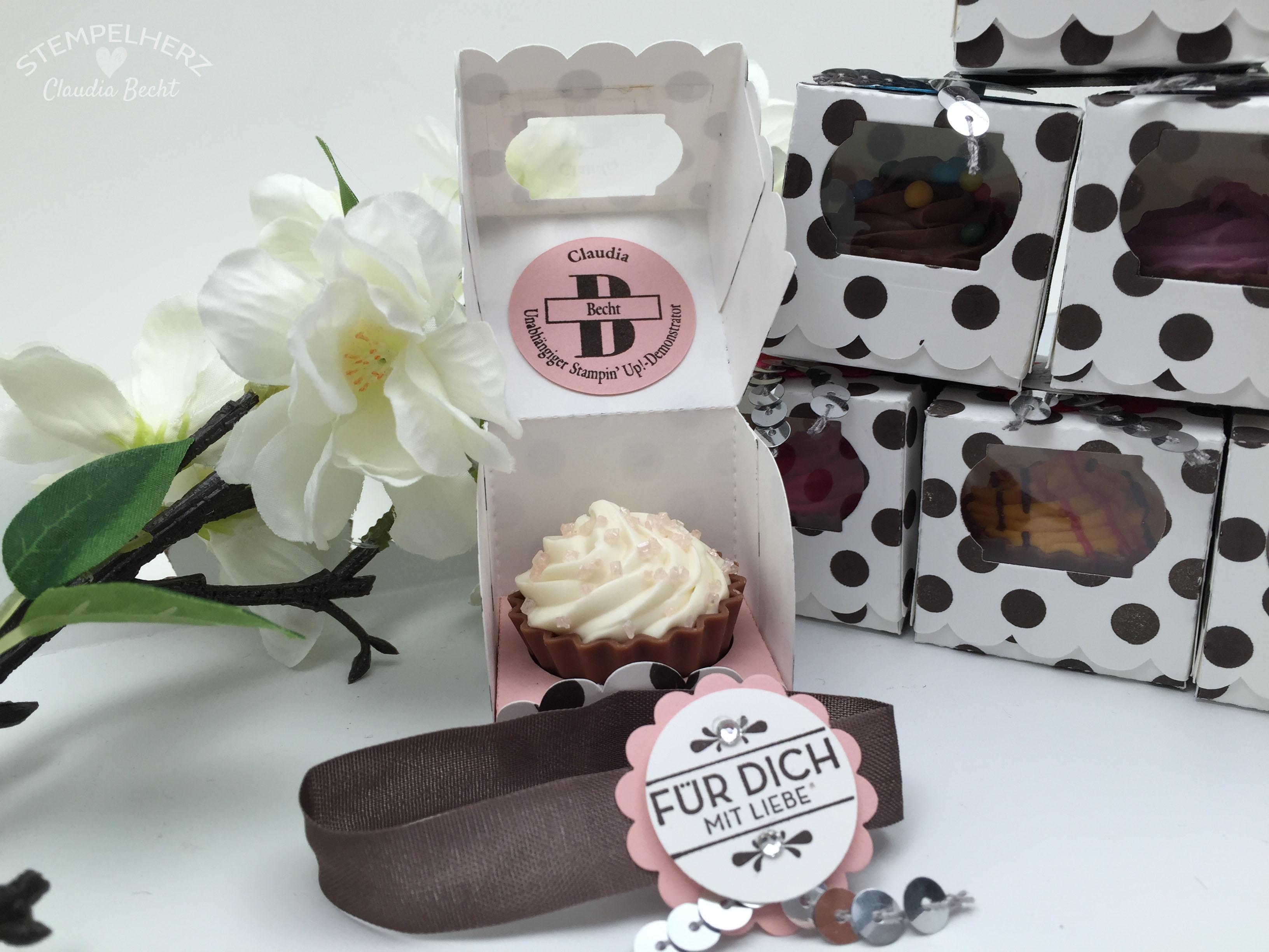 Stampin Up-Stempelherz-Verpackung-Box-Cupcakeverpackung-Cupcake-Hausgemachte Leckerbissen-Pralinenschachtel-Cupcakepralinen-Verpackung 02