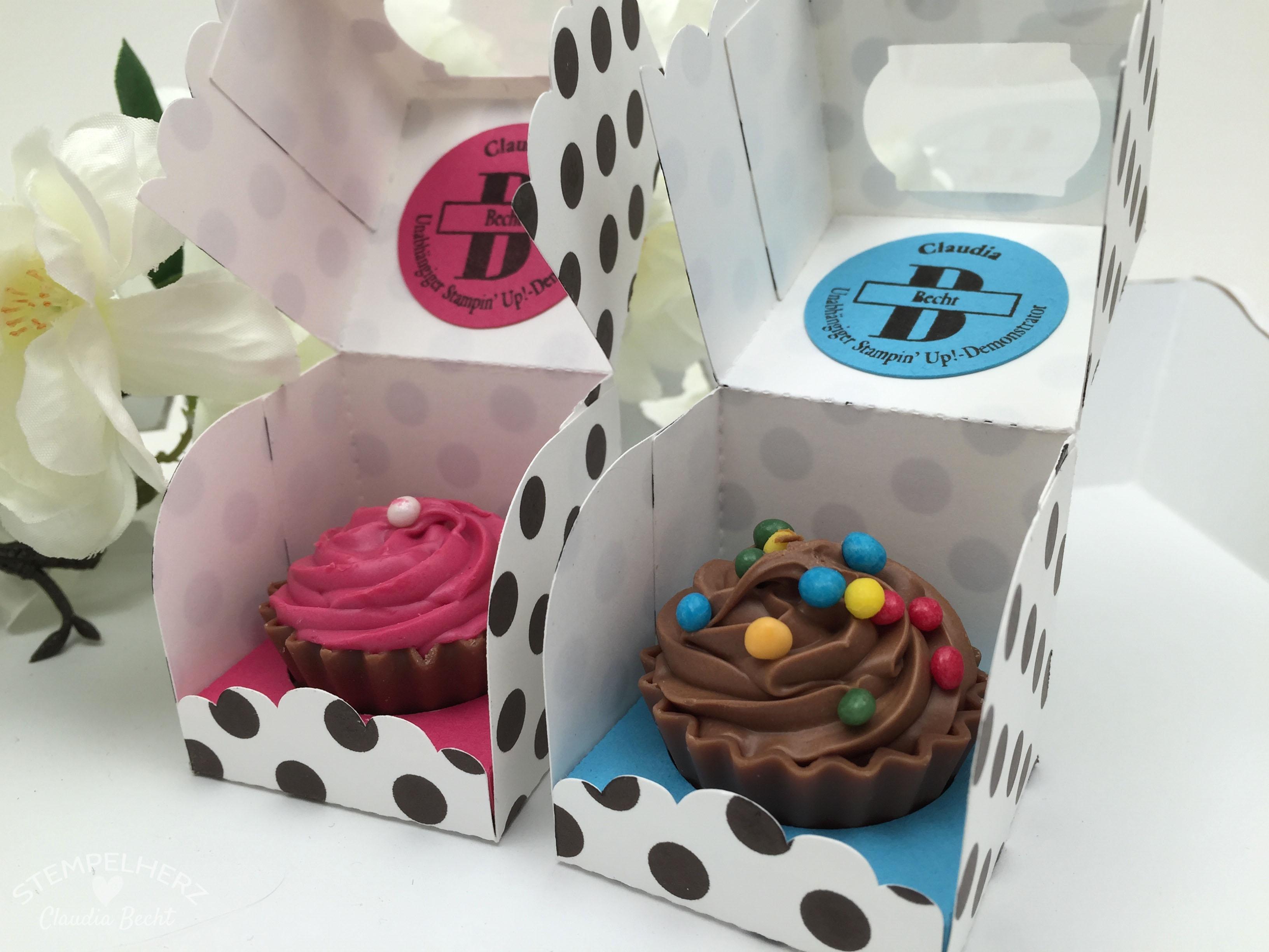 Stampin Up-Stempelherz-Verpackung-Box-Cupcakeverpackung-Cupcake-Hausgemachte Leckerbissen-Pralinenschachtel-Cupcakepralinen-Verpackung 05