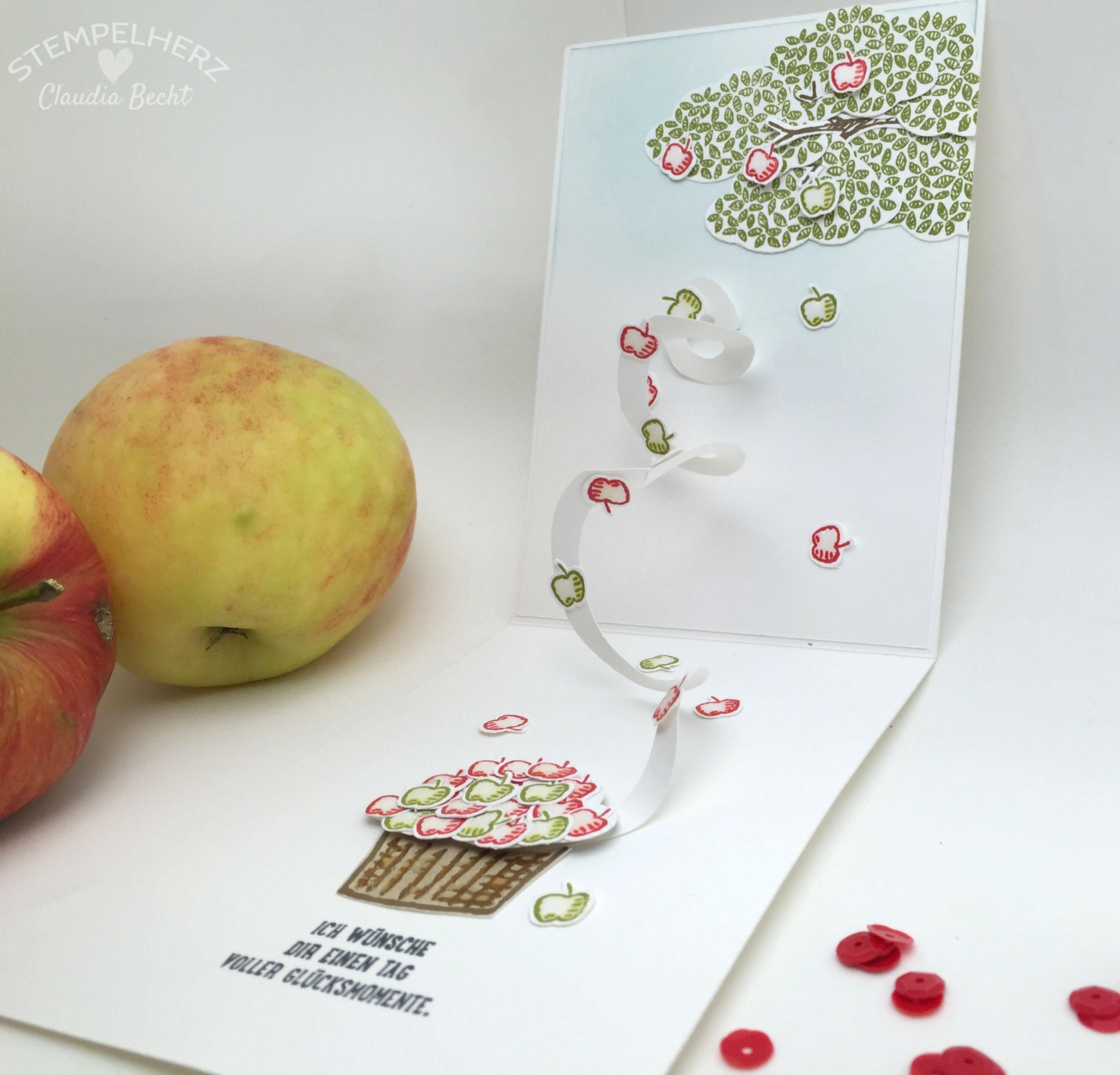 Stampin Up-Stempelherz-Geburtstagskarte-Spiralkarte-Worte die gut tun-Birthday Blossoms-Spiralkarte Apfelbaum 04b