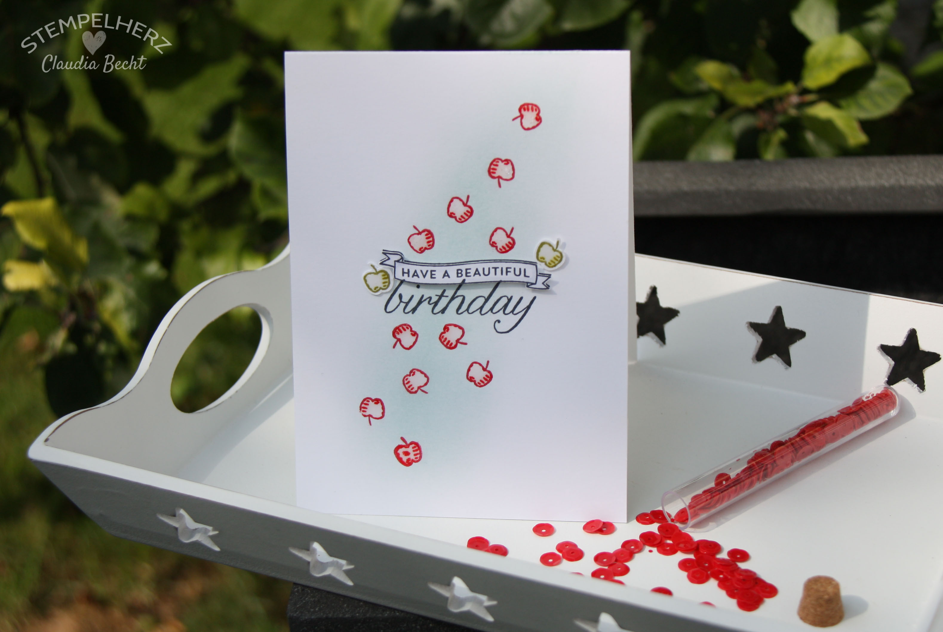 Stampin Up-Stempelherz-Geburtstagskarte-Spiralkarte-Worte die gut tun-Birthday Blossoms-Spiralkarte Apfelbaum 14b