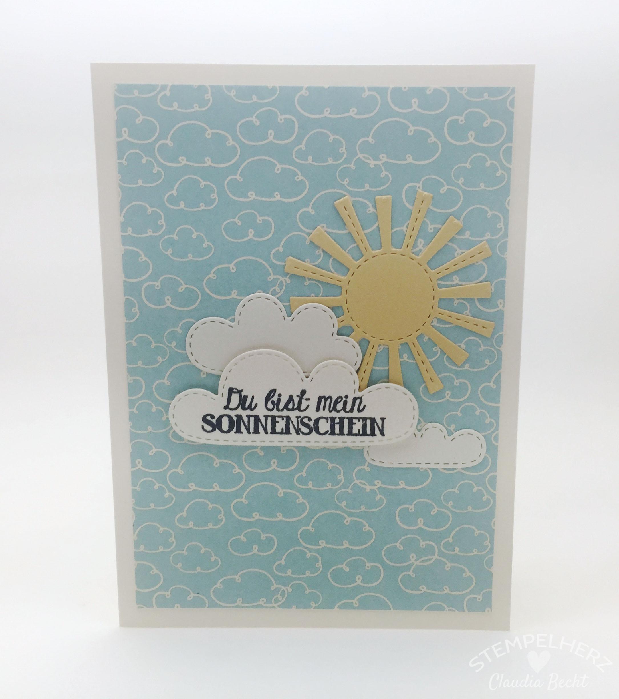 Stampin Up-Stempelherz-Grußkarte-Geburtstagskarte-Hinterm Regenbogen-Karte Du bist mein Sonnenschein 01b