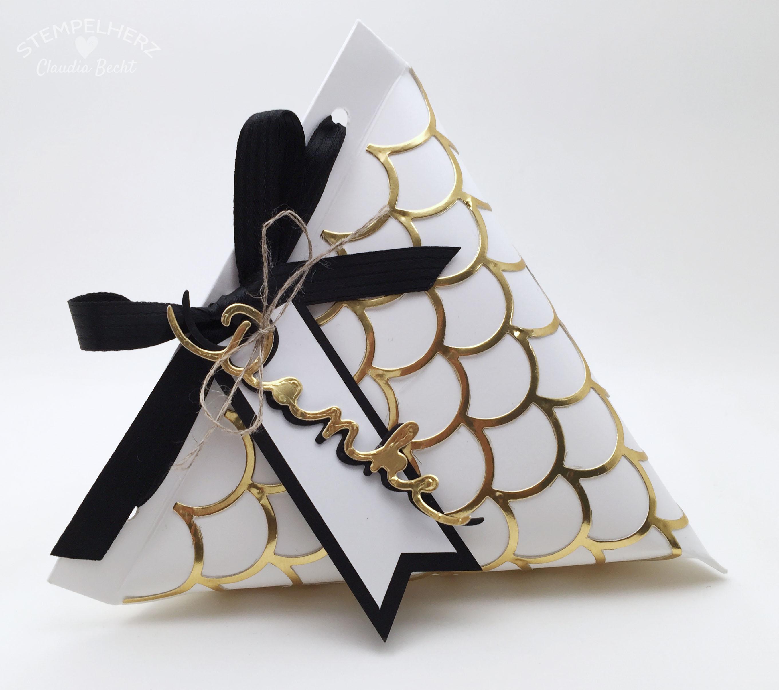 Stampin Up-Stempelherz-Verpackung-Box-Tetra Pak-Verpackung Danke Gold-Schwarz-Weiß 01b