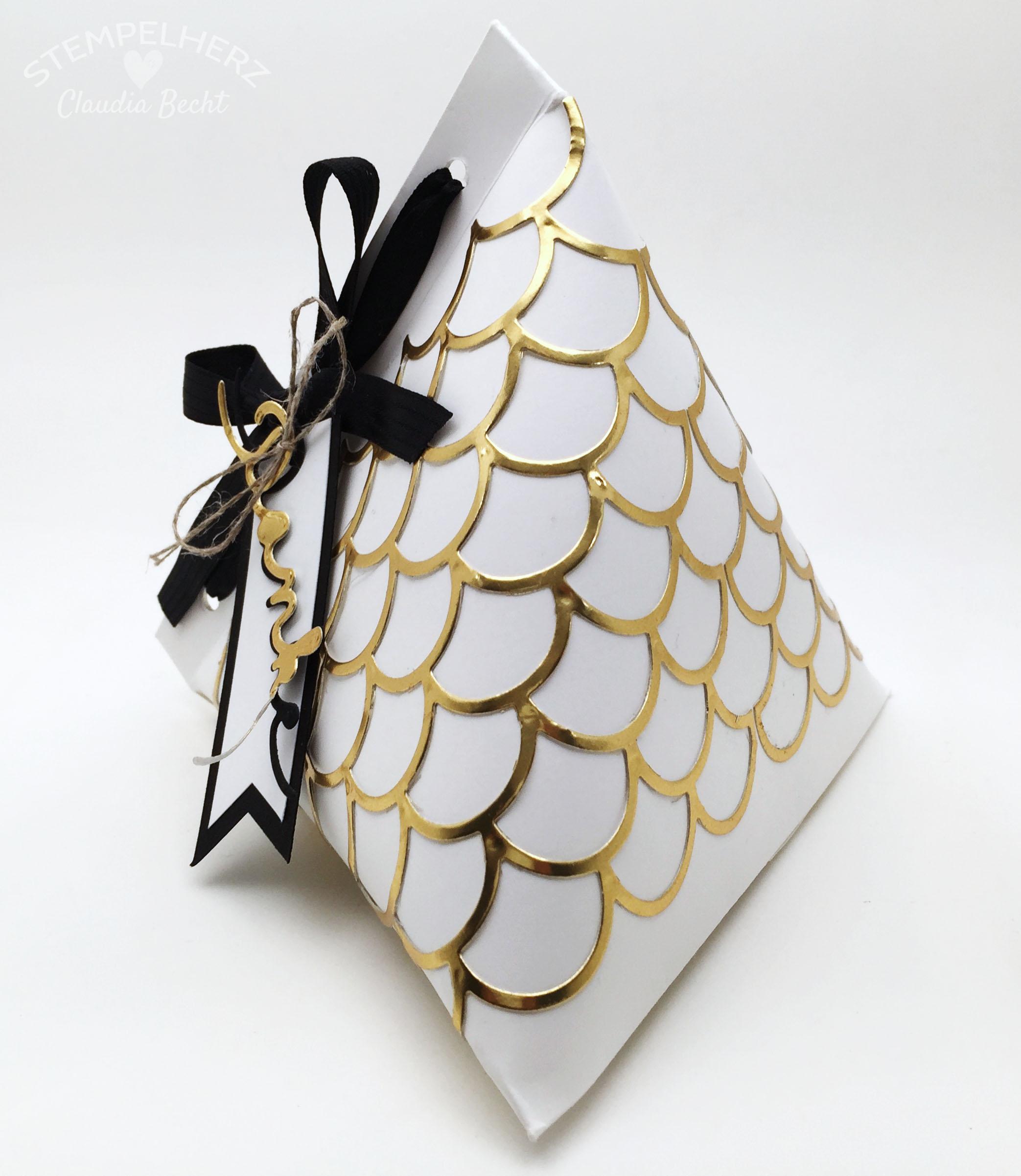Stampin Up-Stempelherz-Verpackung-Box-Tetra Pak-Verpackung Danke Gold-Schwarz-Weiß 04b