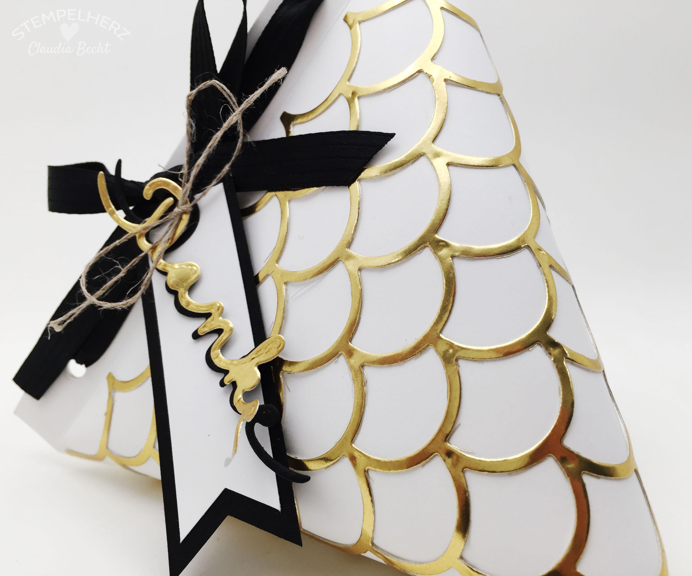 Stampin Up-Stempelherz-Verpackung-Box-Tetra Pak-Verpackung Danke Gold-Schwarz-Weiß 06b