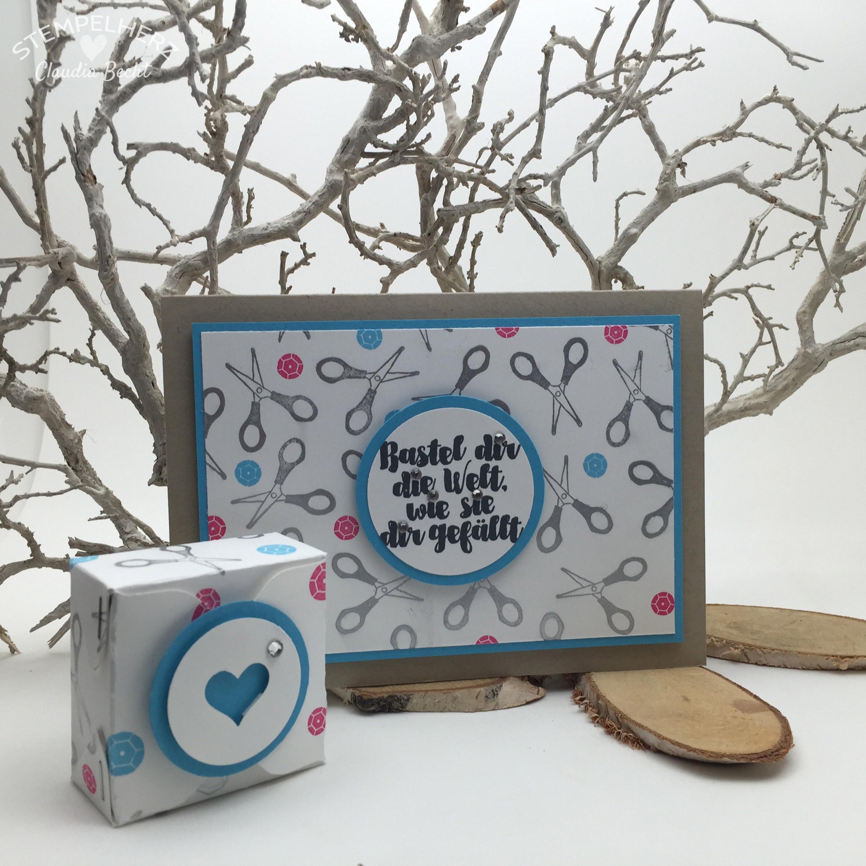 Stampin Up Stempelherz Karte Verpackung Box Aus Der