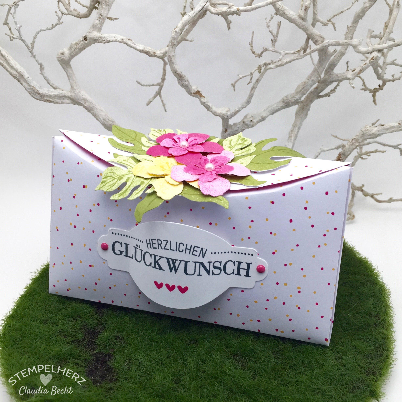 Stampin Up - Stempelherz - Verpackung - Box - Botanical Blooms - Framelits Formen Pflanzen-Potpourri - blumige Kreisbox 01