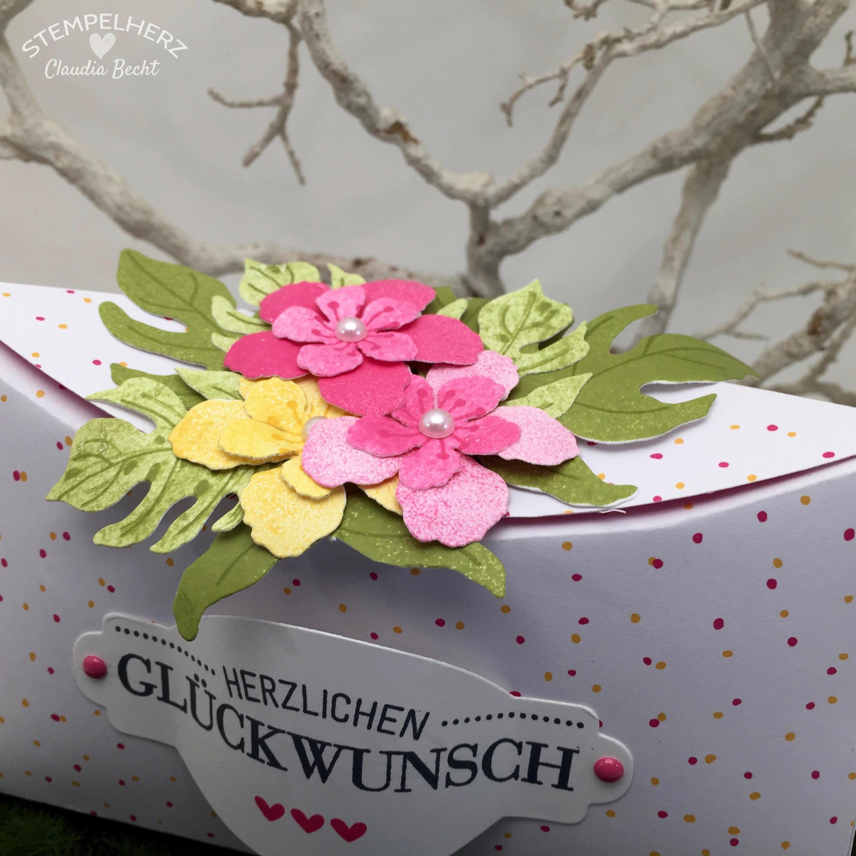 Stampin Up - Stempelherz - Verpackung - Box - Botanical Blooms - Framelits Formen Pflanzen-Potpourri - blumige Kreisbox 04