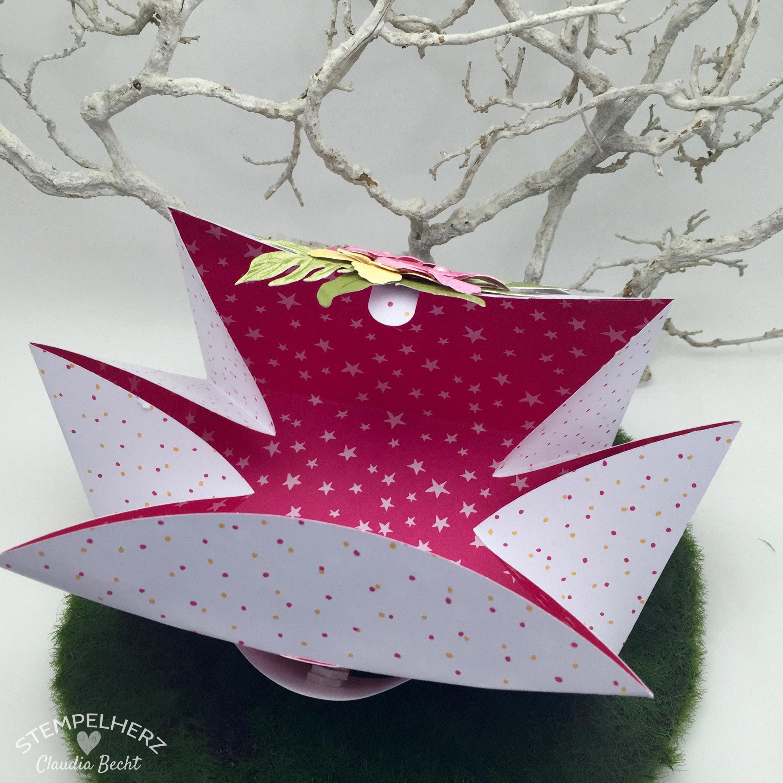 Stampin Up - Stempelherz - Verpackung - Box - Botanical Blooms - Framelits Formen Pflanzen-Potpourri - blumige Kreisbox 06