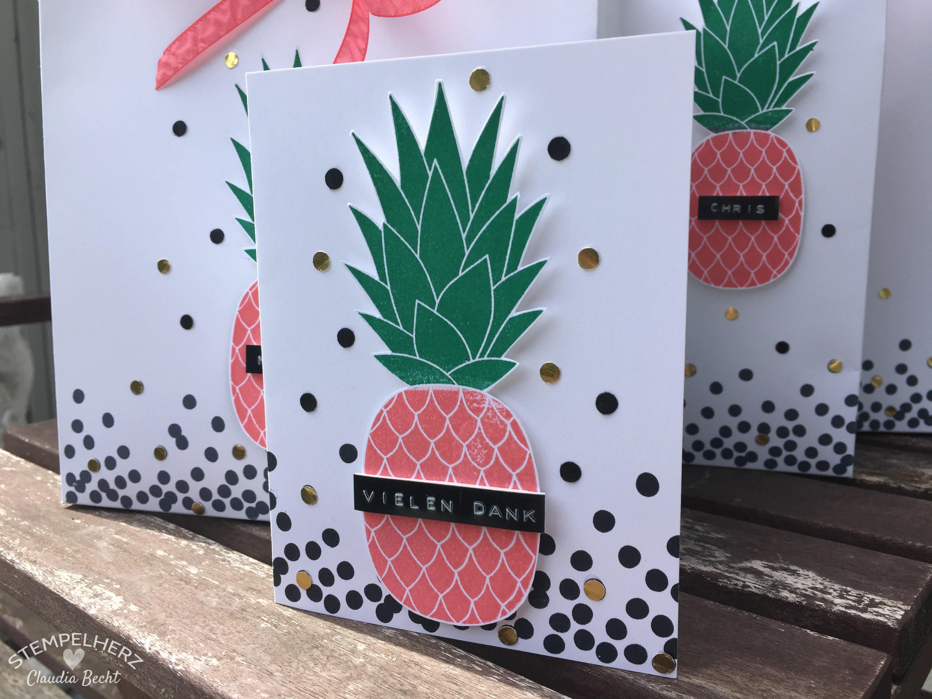 Stampin Up - Stempelherz - Inspiration-Art-Lieblingsstempelset - Stempelset Pineapple - Vielen Dank ans Team 11