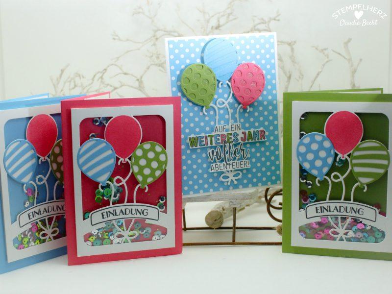Stampin Up - Stempelherz - Einladungskarten - Ballonparty - Kindergeburtstags-Einladungen Ballonparty 011