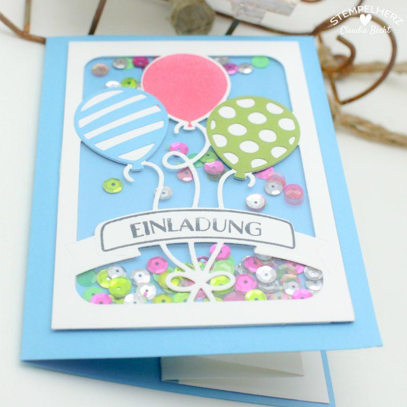 Stampin Up   Stempelherz   Einladungskarten   Ballonparty    Kindergeburtstags Einladungen Ballonparty 051