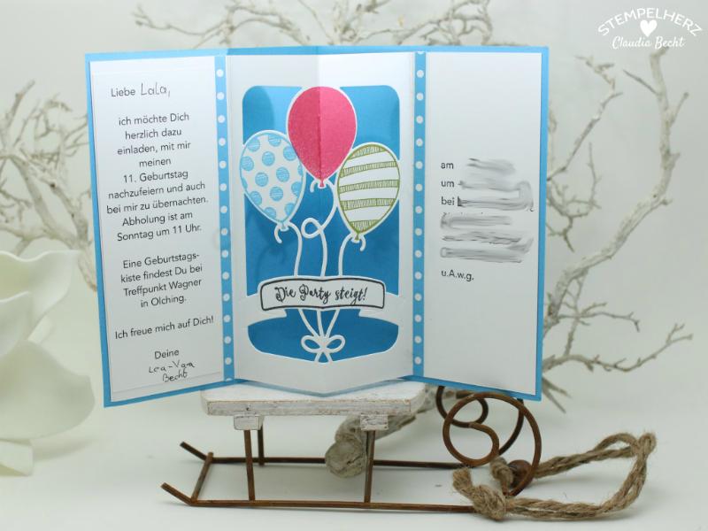 Stampin Up   Stempelherz   Einladungskarten   Ballonparty    Kindergeburtstags Einladungen Ballonparty 061