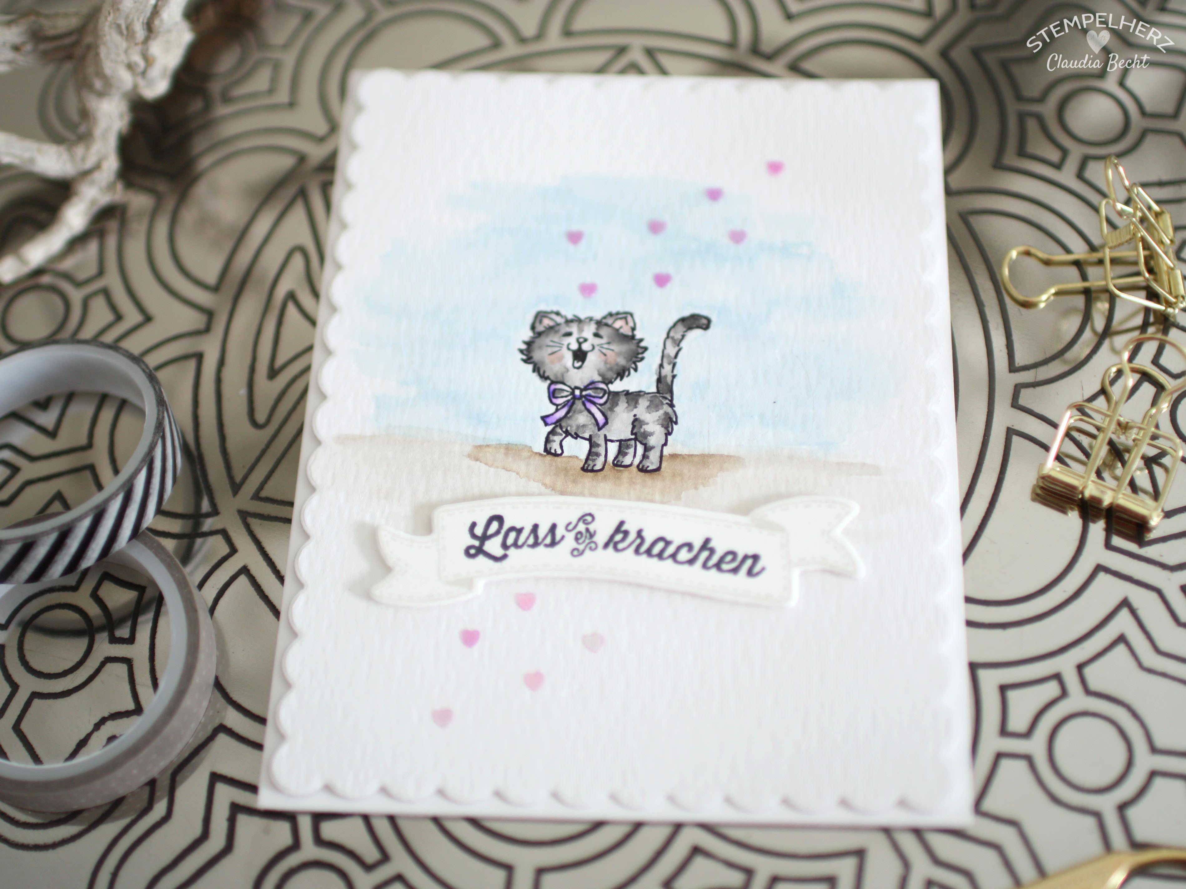 Stampin Up - Stempelherz - Geburtstagskarte - Aquarrell - Stempelset Geburtstagsbanner - Stempelset Pretty Kitty - Geburtstagskarte Lass es krachen 01