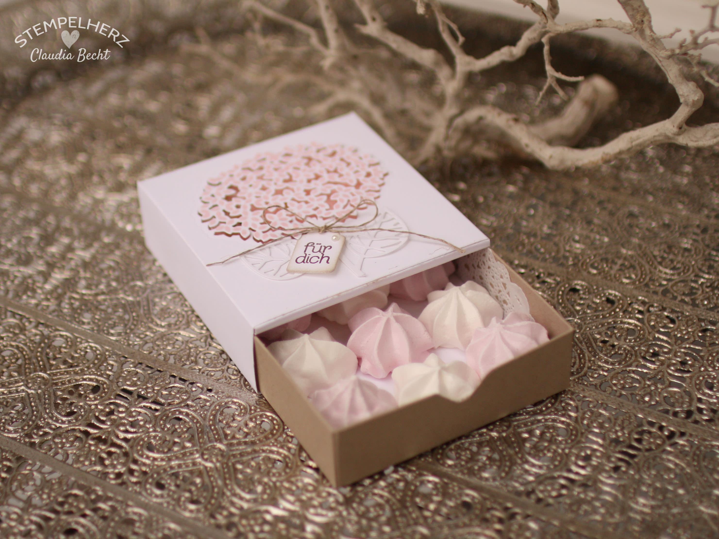 Stampin Up - Stempelherz - Grand Vacation Achievers Blog Hop - Thoughtful Branches - Wald der Worte - Verpackung - Schachtel - Ziehverpackung - Box - Blume - Schachtel Zarte Blume 04