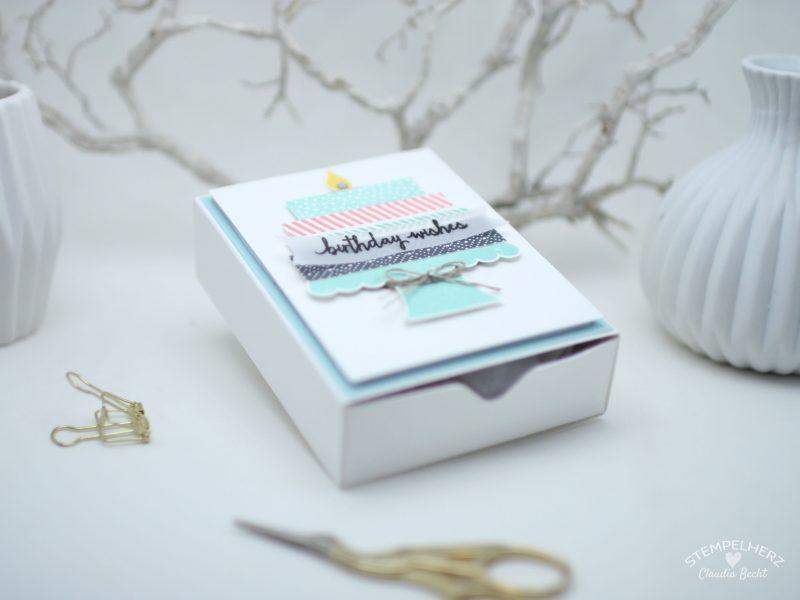 Stampin Up - Stempelherz - Team-Blog Hop - Box - Verpackung - Raffaello-Verpackung - Stempelset Build a Birthday - Verpackung fuer Raffaello 01
