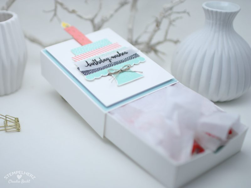 Stampin Up - Stempelherz - Team-Blog Hop - Box - Verpackung - Raffaello-Verpackung - Stempelset Build a Birthday - Verpackung fuer Raffaello 05