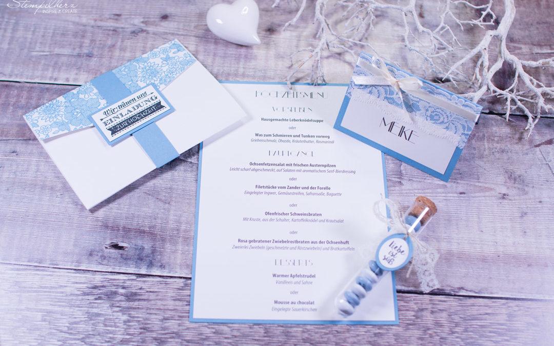 Hochzeitspapeterie in Blau-Weiss