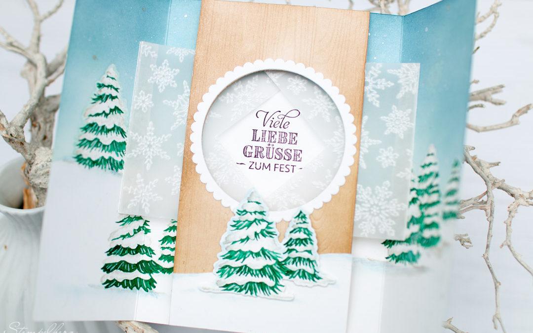 Fensterkarte Verschneite Weihnachten