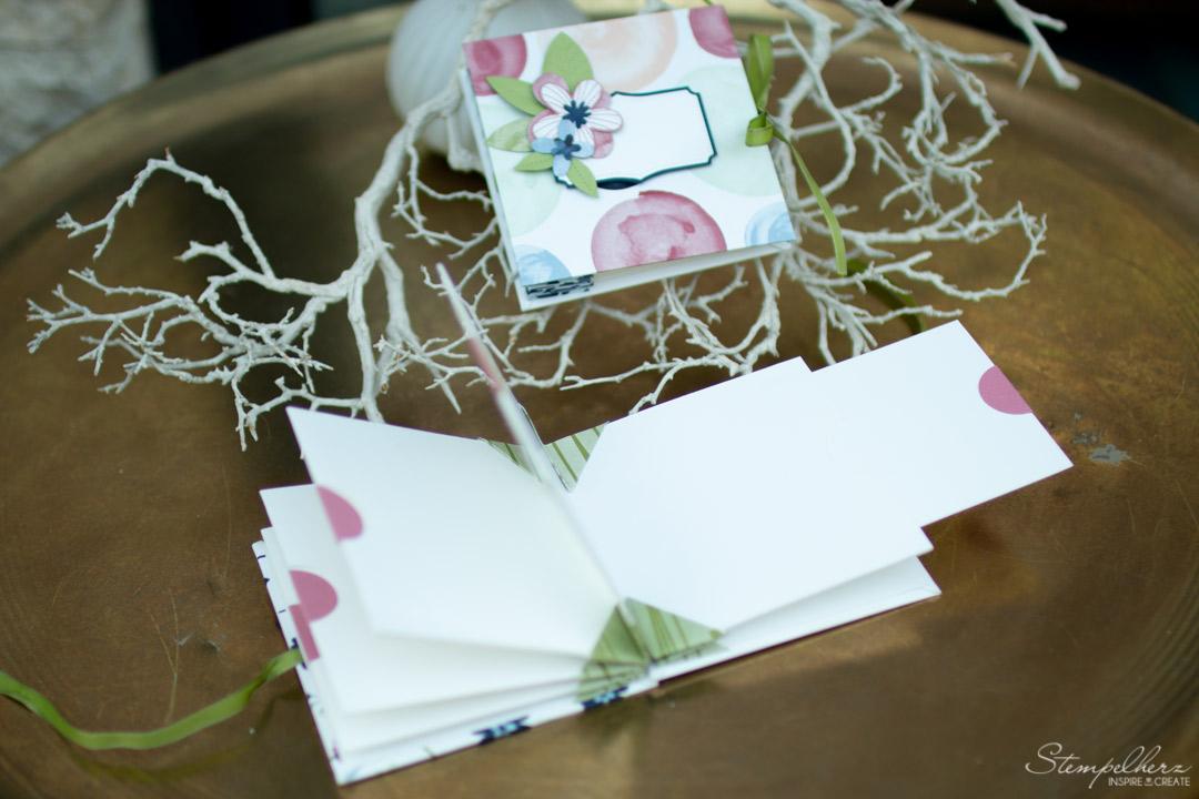 Minialbum Kronenbindung - Designerpapier Papierblüten - Stampin' Up!
