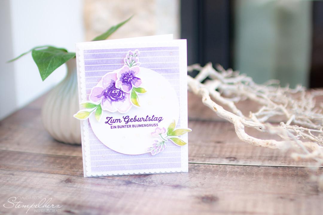 Stampin Up - Stempelherz - Dekoschablonen - Musterbasics - Freundschaftsblueten - Freundschaftskarte Kleine Dinge