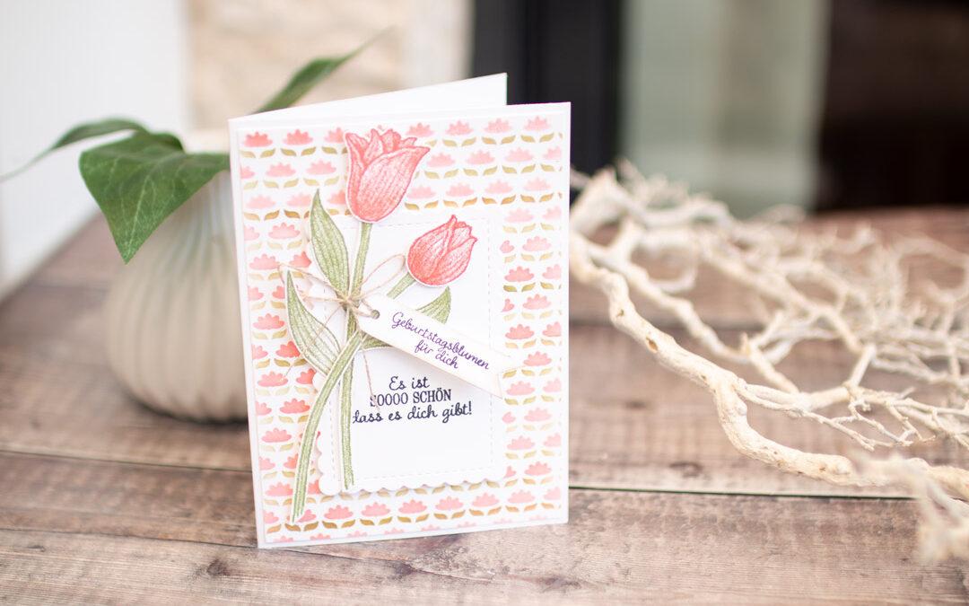 Geburtstagskarte Tulpengruss